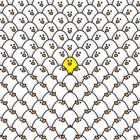regimented: Illustration of Yellow Chick Surrounded by White Chicks All Staring at Odd One Out