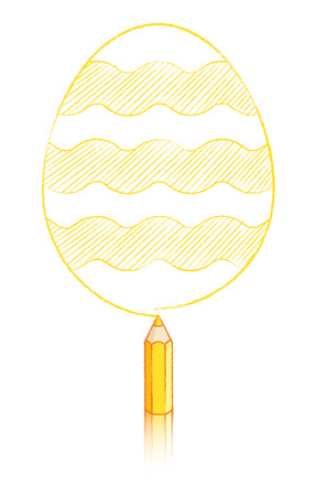 wobbly: Illustration of Yellow Pencil Drawing Easter Egg with Wavy Lines Stock Photo