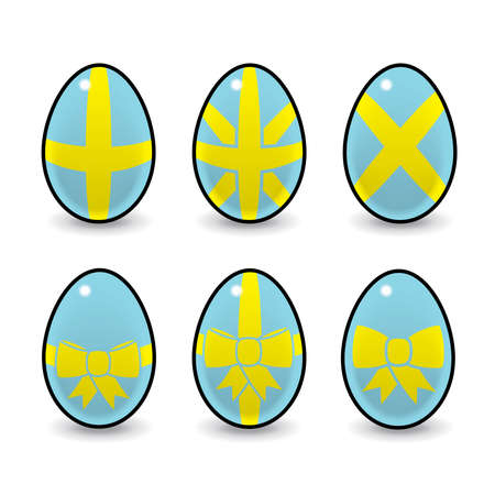 Illustration of Six Easter Eggs Decorated with Bows   Ribbons illustration