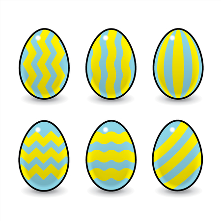 wobbly: Illustration of Six Striped Decorated Easter Eggs Stock Photo