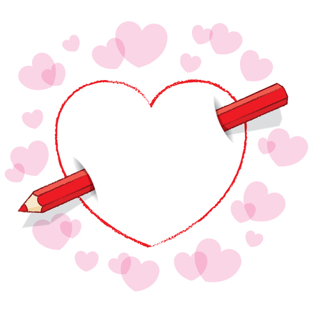 Illustration of Diagonal Red Pencil Piercing Empty Love Heart illustration