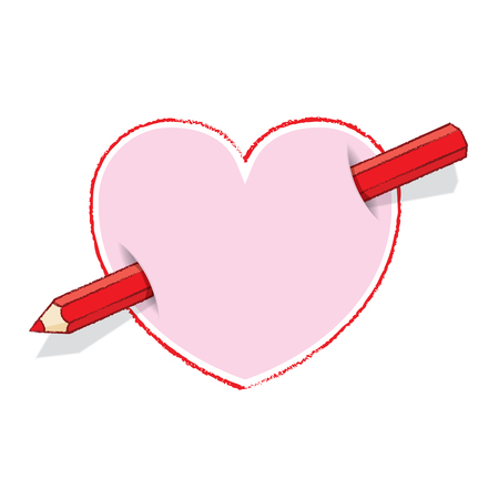 Illustration of Diagonal Red Pencil Piercing Pink Love Heart illustration