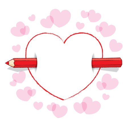 Illustration of Horizontal Red Pencil Piercing Empty Love Heart illustration