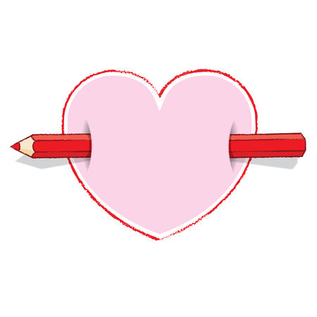 Illustration of Horizontal Red Pencil Piercing Pink Love Heart illustration