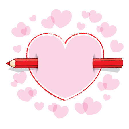 to pierce: Illustration of Horizontal Red Pencil Piercing Pink Love Heart Stock Photo