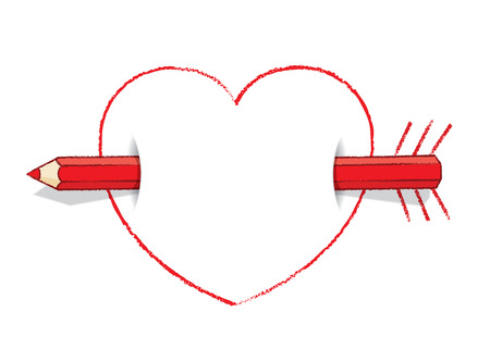 Illustration of Horizontal Red Pencil Piercing Empty Love Heart like Cupid s Arrow  illustration