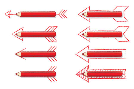 Illustration of Red Pencils on Various Drawn Arrows on White Background illustration