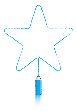 Illustration Of Five round pointed Star message panel drawn by Blue Colouring pencil illustration