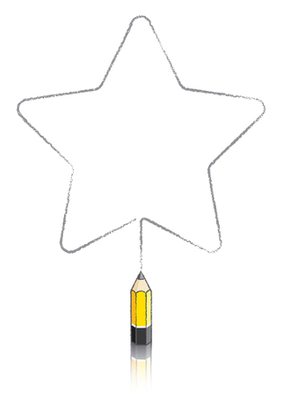 five pointed: Illustration Of Five round pointed Star Message Panel Drawn by Yellow Lead pencil