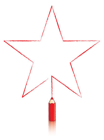 Illustration Of Five pointed Star Message Panel Drawn by Red colouring pencil Stock Photo