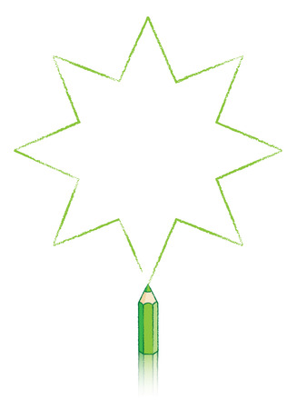 Illustration Of Eight pointed Star Message Panel Drawn byGreen colouring pencil illustration