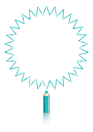 Illustration Of Thirty pointed Star Message Panel Drawn by Turquoise Colouring pencil illustration