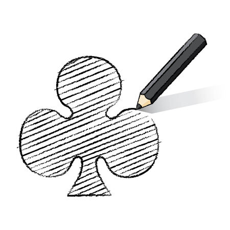 shading: Illustration of Black Pencil Drawing and Shading Clubs Icon Stock Photo