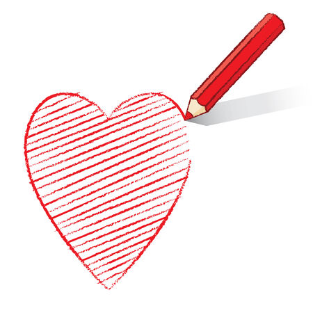 Illustration of Red Pencil Drawing and Shading Hearts Icon illustration
