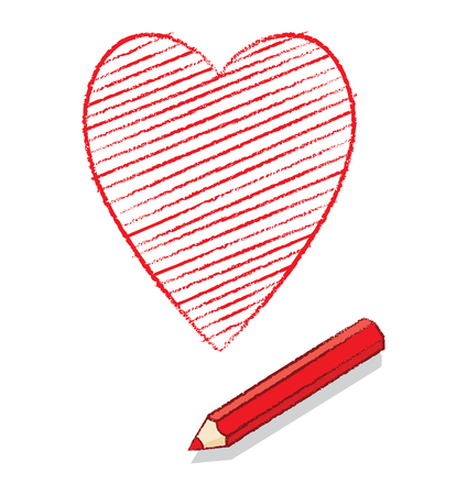 declare: Illustration of Ace of Hearts Icon Drawn by a Red Pencil