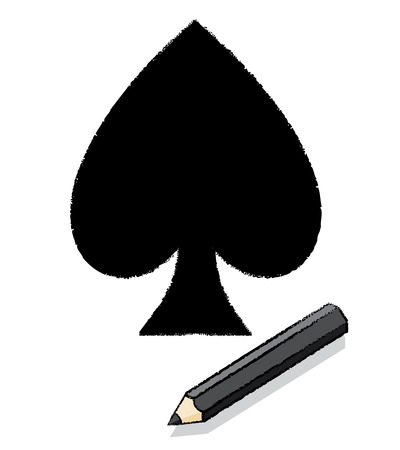 Illustration of Ace of Spades Icon Drawn by Black pencil Stock Photo