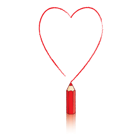 Illustration of Red Pencil Drawing Outline of Ace of Hearts Icon Stock Photo