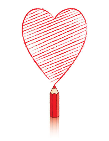 Illustration of Red Pencil Drawing Ace of Hearts Icon illustration