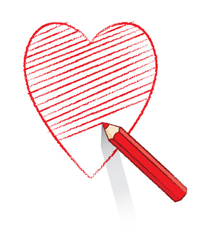 Illustration of Red Pencil Drawing and Shading Ace of Hearts Icon illustration