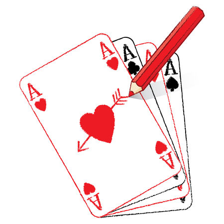 Illustration of Red Pencil Drawing Ace of Hearts Playing Cards on Fan of Aces with Cupids Arrow illustration