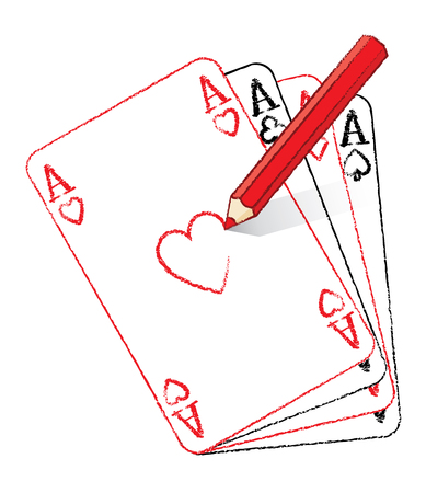 Illustration of Red Pencil Drawing Ace of Hearts Playing Card on Fan of Aces illustration