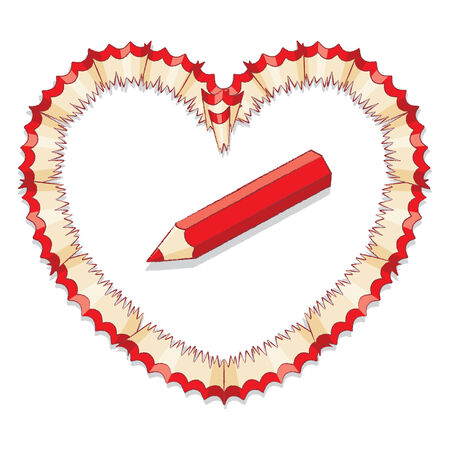 Illustration of Red Pencil with Shavings in Shape of Heart illustration