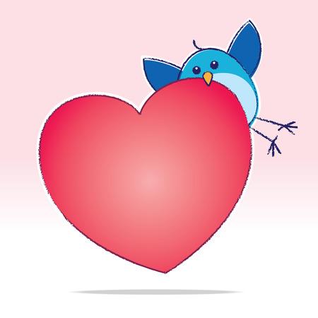 bluebird: Illustration of Bluebird carrying Big Red Heart