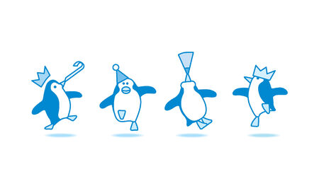 Illustration of Four Happy Blue Penguins Dancing at Party