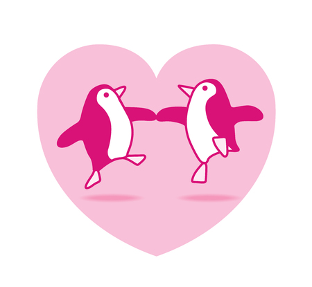Illustration of Two Happy Pink Penguins Dancing in Pink Heart illustration