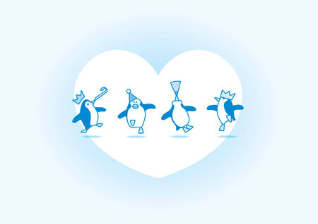 quartet: Illustration of Four Happy Blue Penguins Dancing at Party with White Heart