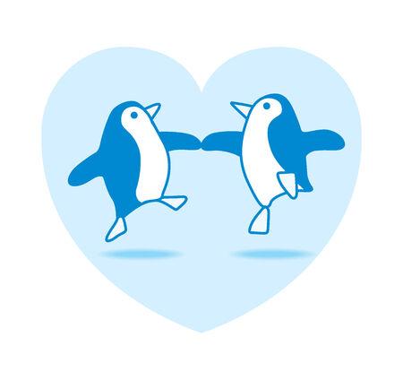 Illustration of Two Happy Blue Penguins Dancing in Blue Heart illustration