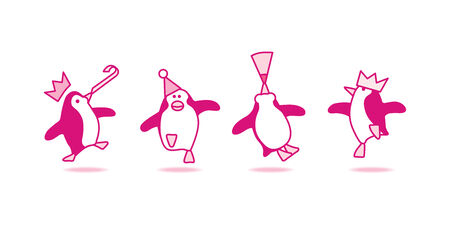 Illustration of Four Happy Pink Penguins Dancing at Party Stock Photo