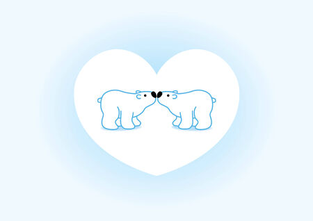quartet: Illustration of Two Blue Polar Bears with Black Noses Kissing in White Heart