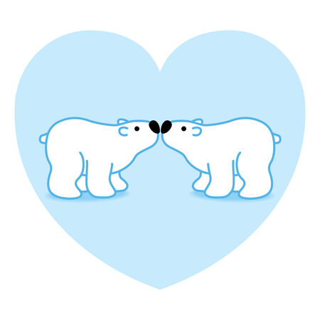 Illustration of Two Blue Polar Bears with Black Noses Kissing in Blue Heart illustration