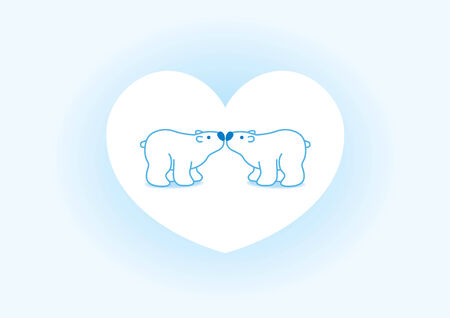 Illustration of Two Blue Polar Bears with Blue Noses Kissing in Blue Heart illustration