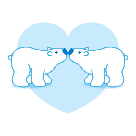 Illustration of Two Blue Pink Polar Bears with Blue Noses Kissing in blue Heart illustration
