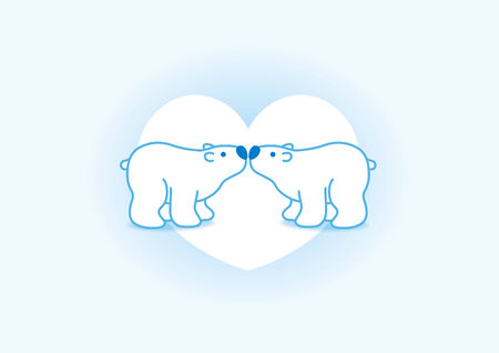 Illustration of Two BluePolar Bears with Blue Noses Kissing in Blue Heart illustration