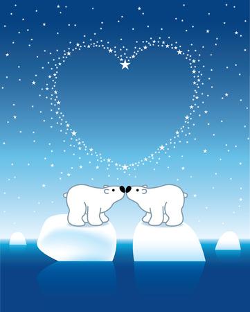 under heart: Illustration of Two Polar Bears on Icebergs Kissing under Heart Shaped Starry Sky