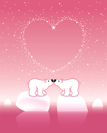 Illustration of Two Pink Polar Bears on Icebergs Kissing under Heart Shaped Starry Sky illustration