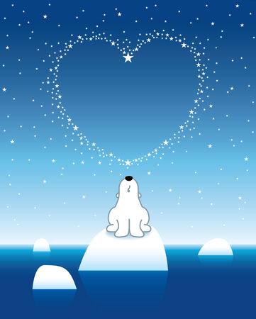 Illustration of Polar Bear on Iceberg looking up at Heart Shaped Starry Sky illustration
