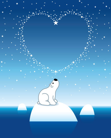 lonesome: Illustration of Polar Bear on Iceberg looking up at Heart Shaped Starry Sky