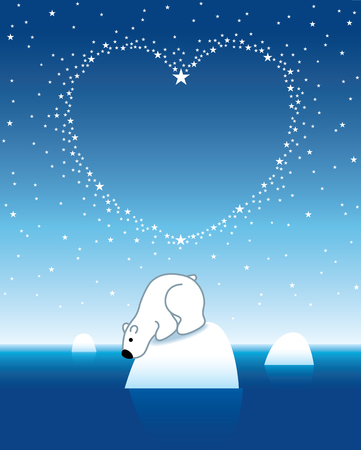 lonesome: Illustration of Polar Bear on Iceberg looking down under Heart Shaped Starry Sky