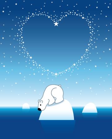 under heart: Illustration of Polar Bear on Iceberg looking down under Heart Shaped Starry Sky