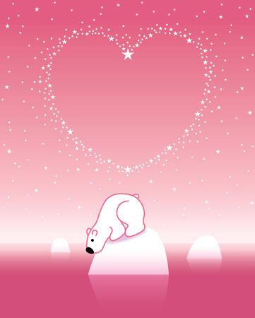 under heart: Illustration of Pink Polar Bear on Iceberg Looking down under Heart Shaped Starry Sky