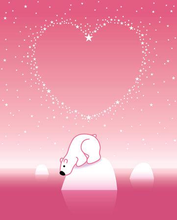 under heart: Illustration of Pink Polar Bear on Iceberg Looking down under Heart Shaped Starry Sky