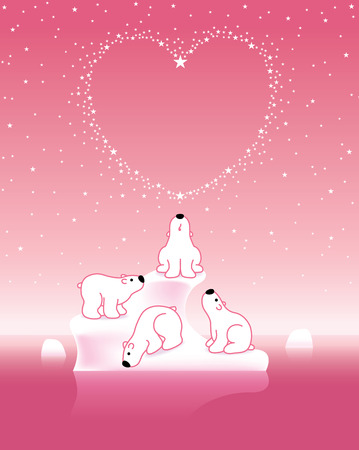 under heart: Illustration of Four Pink Polar Bears on Iceberg under Heart Shaped Starry Sky