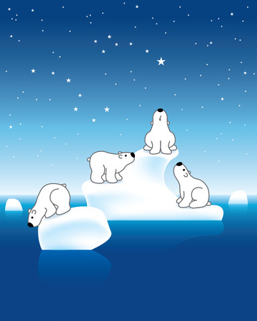 Illustration of Four Polar Bears on Iceberg under Starry Sky illustration