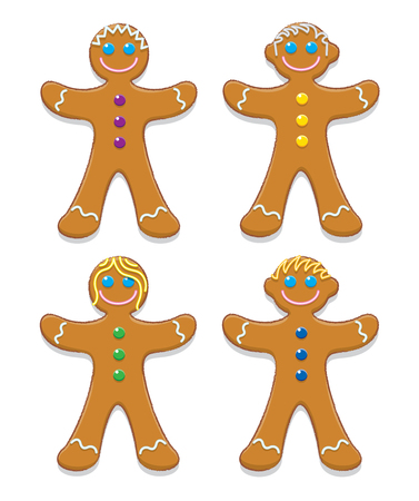 Illustration of Happy Gingerbread Family illustration