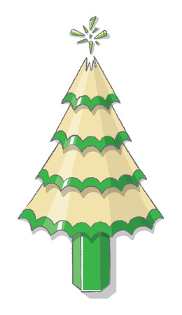 pointless: Illustration of Christmas Tree from sharpened Green Pencil Shavings