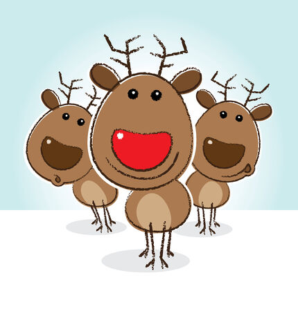 red nosed: Illustration of Rudolph the Red Nosed Reindeer Smiling in front of Herd Stock Photo
